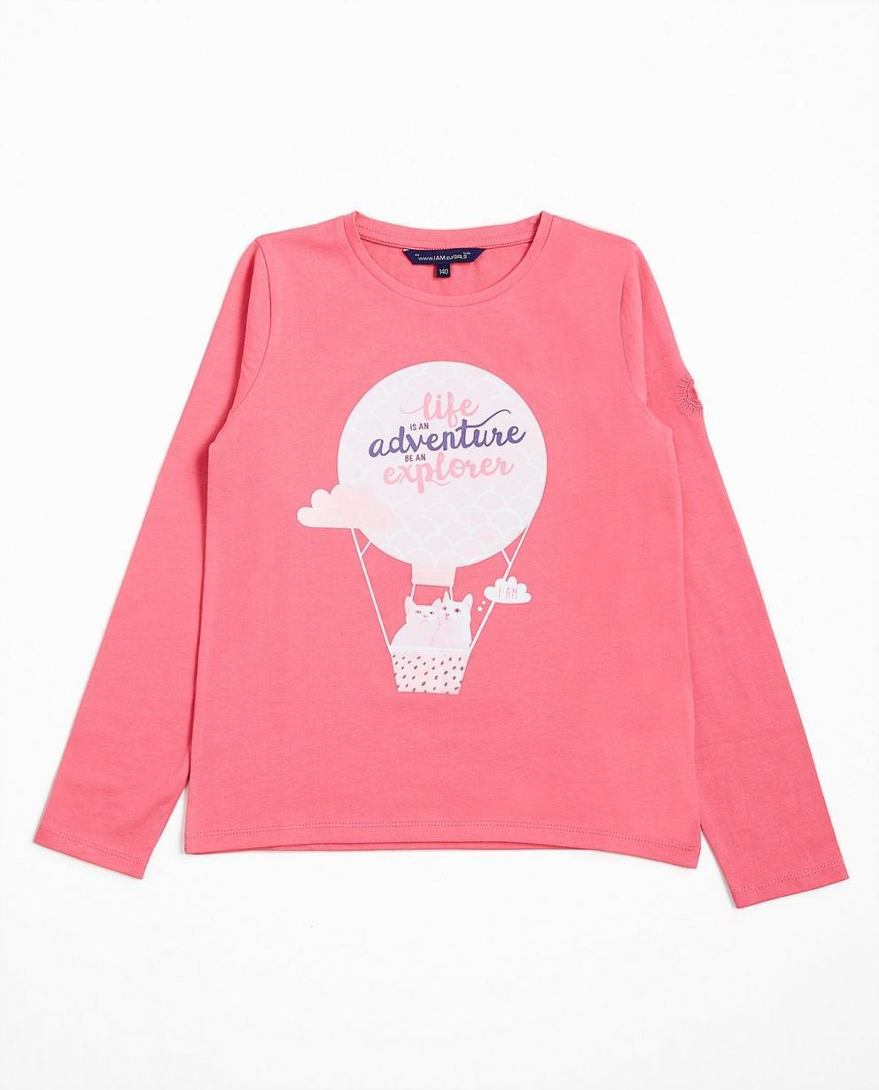 T-shirt à manches longues - rose imprimé, coton bio, I AM - I AM